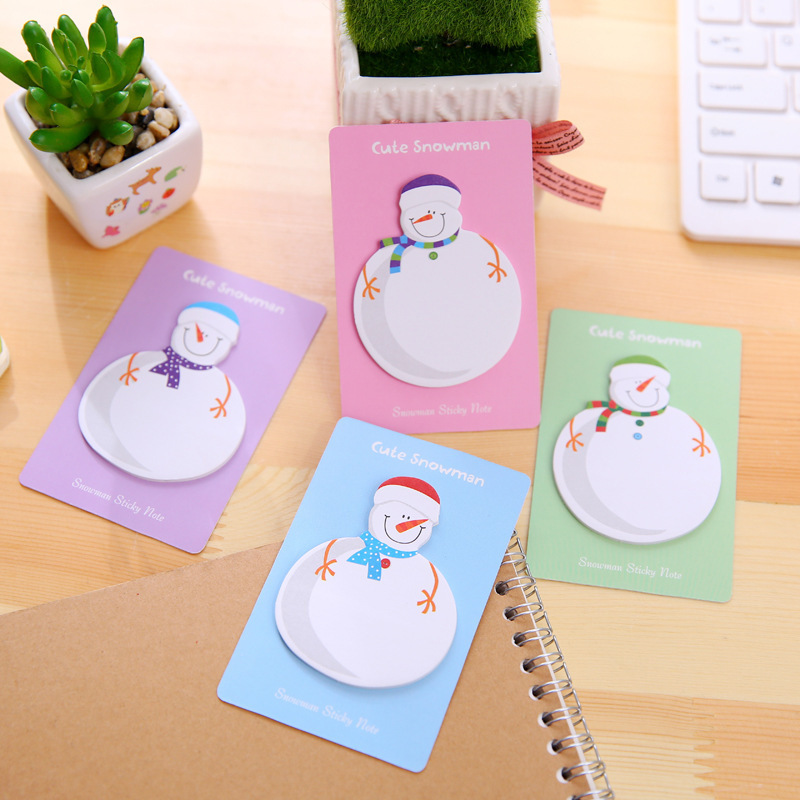 2Pcs Merry Christmas Cute Kawaii Snowman Sticky Notes Christmas Gift Planner Stickers Memo Pad School Stationery Office Supplies