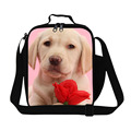 Cute Dog With Rose 3D Lunch Bags Insulated Children Animal Lunch Box For Office Ladies Thermal Bag Small Picnic Bag organizer