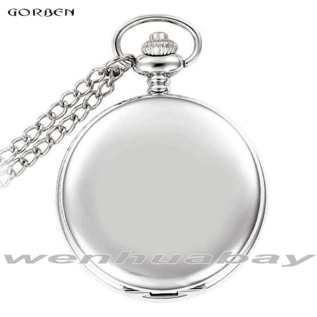 2017 New Vintage Gorben Watch Smooth Surface Silver Simple Pocket Watch Dial Rom
