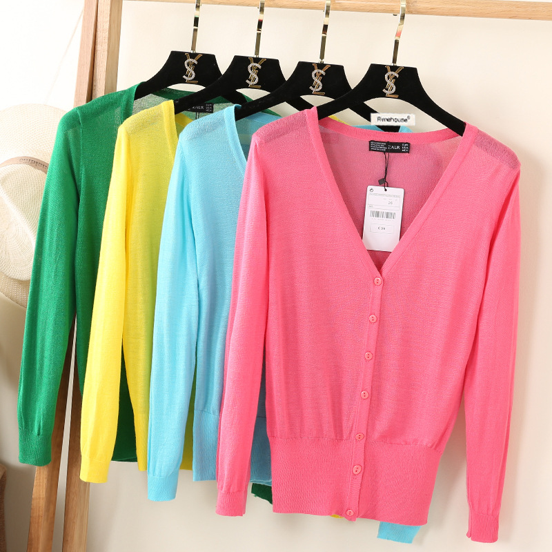 2017 Top Selling Summer New Thin Long Sleeve V-neck Female Knitted Tops Coat Casual Short Solid Color Woman Sweater Cardigans
