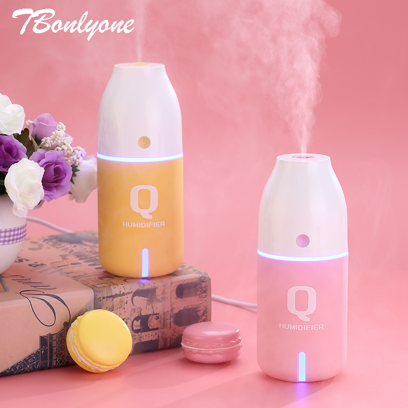 TBonlyone 150ML Q Bottle Humidifier LED Cool Mist Essential Oil Aroma Diffuser Car Diffuser Mini USB Air Humidifier for Car 5v led lighting usb mini air humidifier 250ml bottle included air diffuser purifier atomizer for desktop car