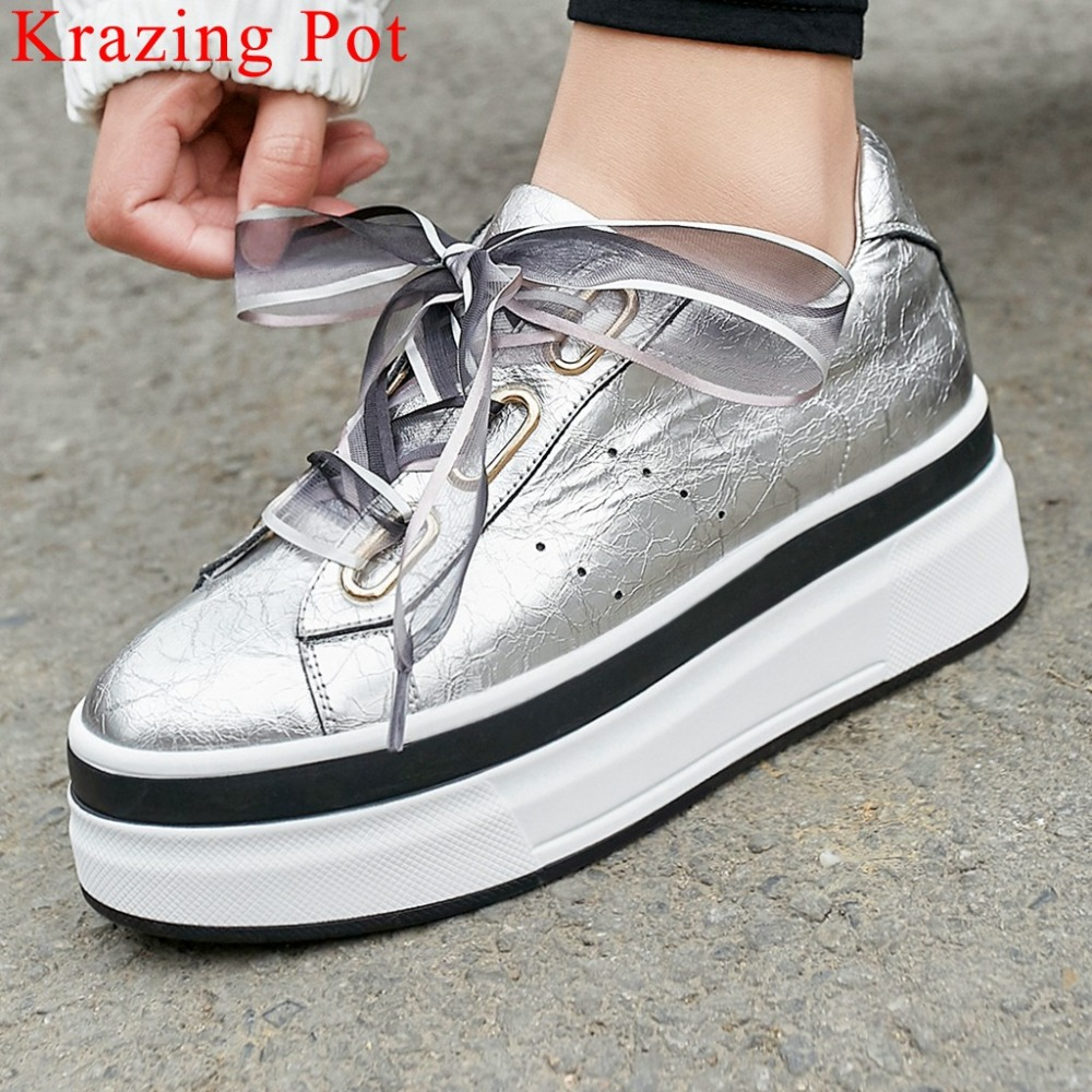Newest gorgeous riband thick high bottom platform genuine leather lace up sneakers comfortable breathable Vulcanized shoes