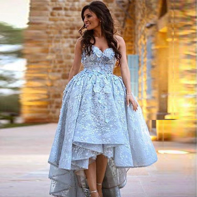 US $132.0 20% OFF|Lace High Low Plus Size Evening Gowns Sweetheart Light  Sky Blue Ball Gown Prom Gowns Women Maxi Party Dresses -in Dresses from ...