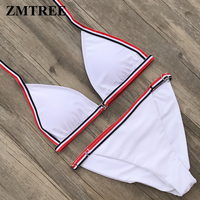 ZMTREE 2018 Bikini Women Swimwear White Beach Bathing Suit Triangle Swimsuit Micro Bikinis Set Adjustable Bottom