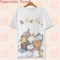 2016 Summer Harajuku Shirt Neko Atsume Anime Cartoon Japanese Kawaii Clothes Casual Female T Shirt Cat