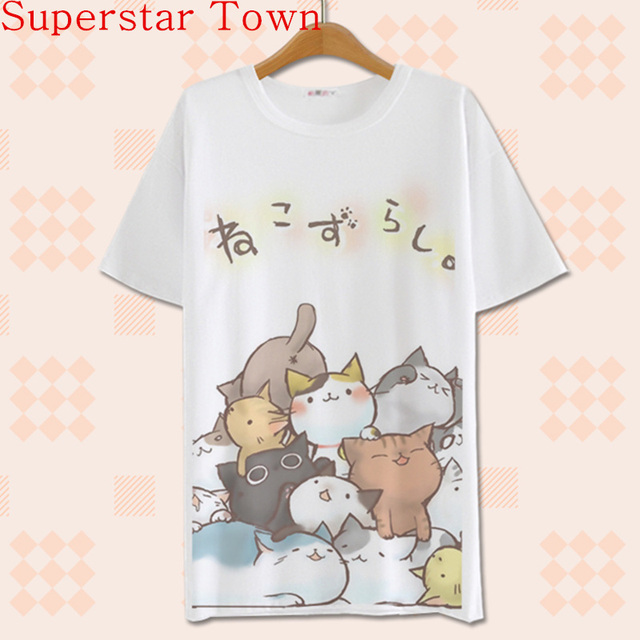 2016 Summer Harajuku Shirt Neko Atsume Anime Cartoon Japanese Kawaii Clothes Casual Female T-shirt Cat Tops Tee Lolita Vestidos