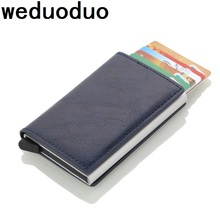 Weduoduo 2019 Crazy Horse PU Leather Credit Card Holder Men And Women RFID Aluminium Business Card Holder Travel Card Wallet(China)