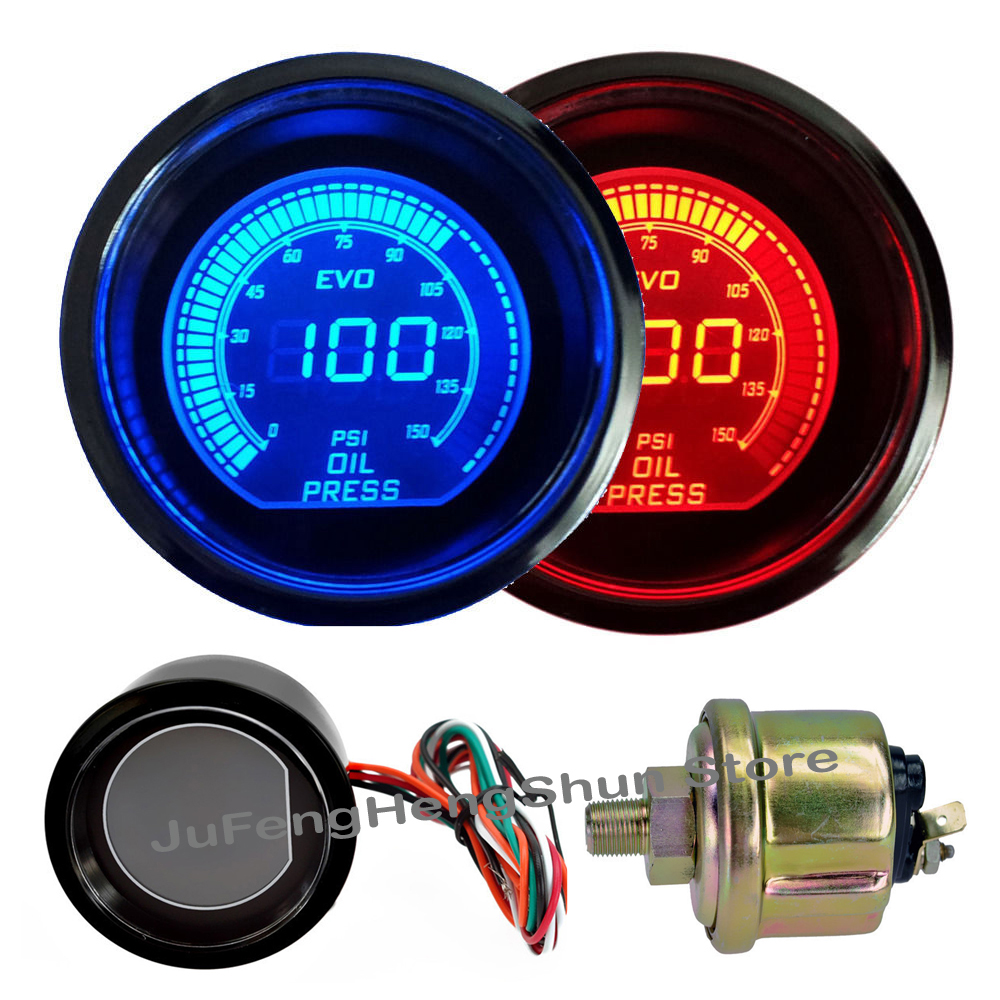 2 inch 52mm Oil Pressure Gauge Psi DC 12V Car Blue Red LED Light Tint Lens Auto Digital Fuel Press Meter Manometer + Sensor 2014 new 1pcs auto car oil pressure led gauge 2 52mm free shipping a