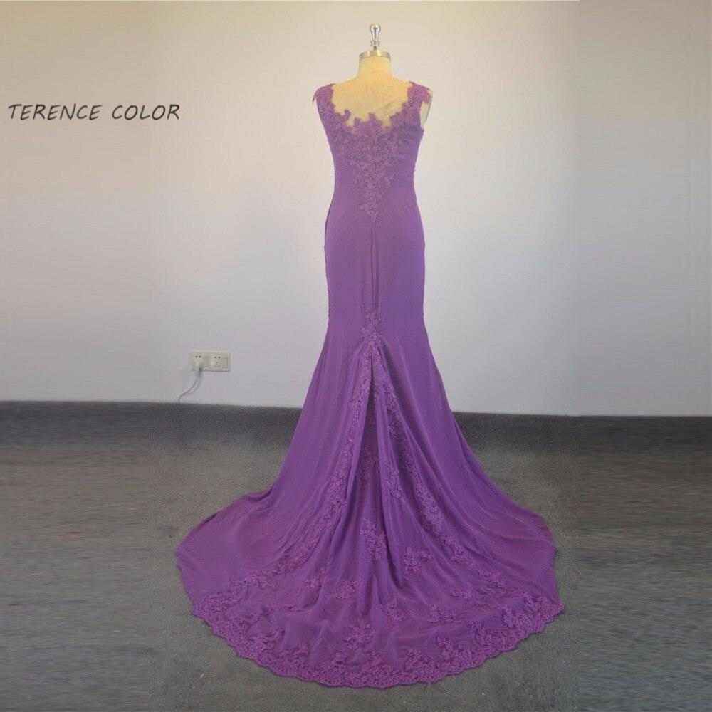 Sexy Purple Lace Appliques Chiffon Mermaid Floor Length Evening Dress