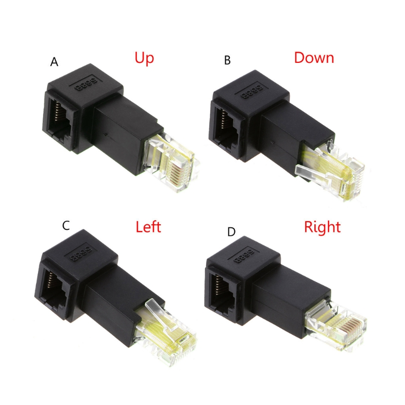 Multi-angle RJ45 Cat 5e Male To Female Lan Ethernet Network Extension Adapter  T3LB