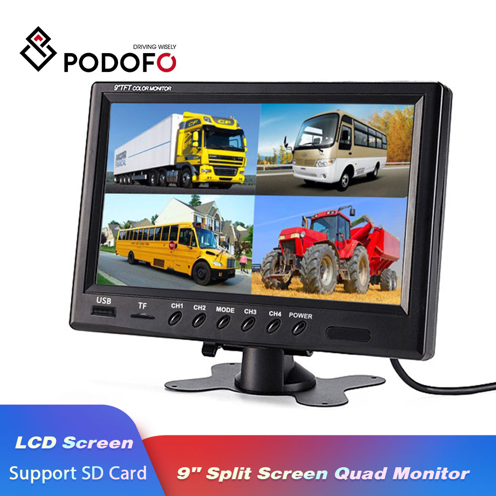 Podofo 9 TFT LCD Split Screen Quad Car Monitor CCTV Security Surveillance Display With Micro SD