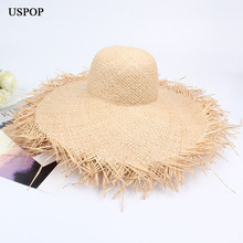 Newest summer raffia wide brim sun hats woman hand made straw hat solid casual shade summer UV protection beach hat