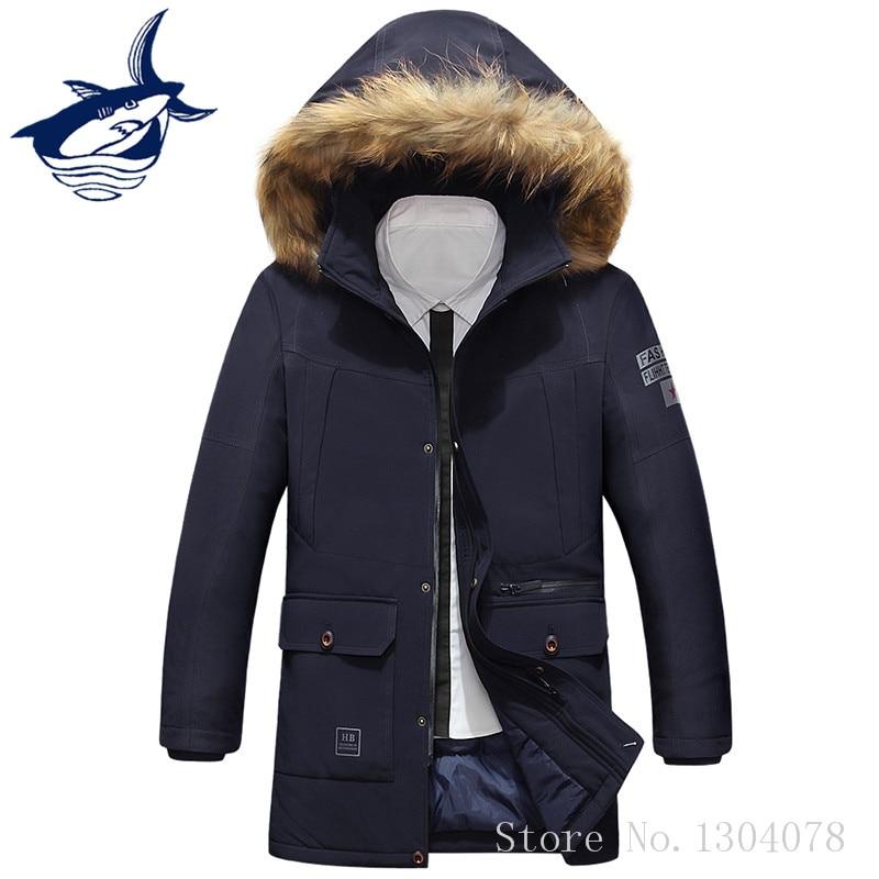 New Arrival Brand Tace & Shark Parka Men Casual Thicken Fur Collar Long Winter Jackets Mens Warm Cotton-Padded jaqueta masculino