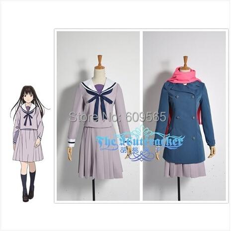Gratis frakt! Noragami Cosplay Kostyme Sailor Suit Uniform For Women Tilpass A coat, jakke, skjørt, bånd, skjerf, sokker