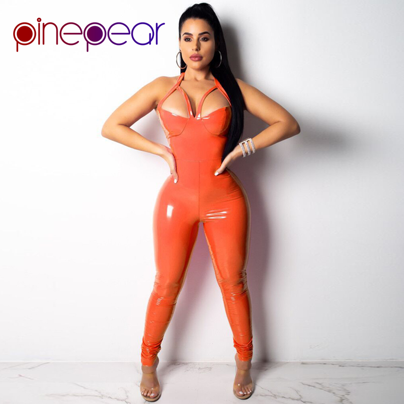 PinePear Orange/Pink PU Leather Jumpsuit Women 2019 Sexy Hollow Out Spaghetti Strap Halter Backless Bodycon Romper Wholesale