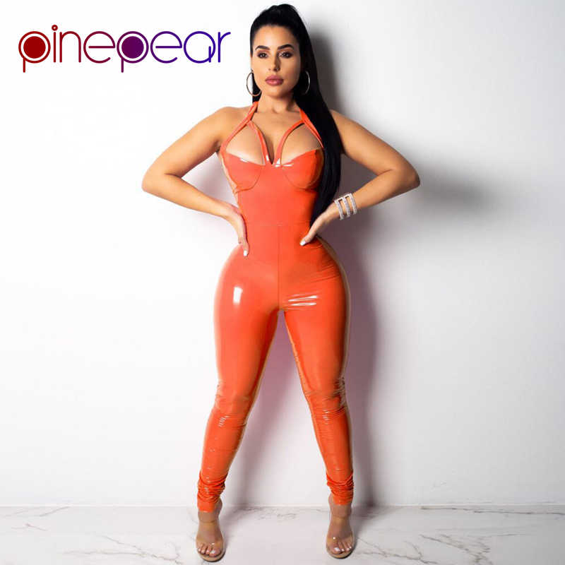 14c57c567d1 PinePear Orange Pink PU Leather Jumpsuit Women 2019 Sexy Hollow Out  Spaghetti Strap Halter Backless