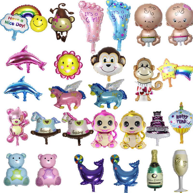 Hot Sale 10 pcs/lot Angel Baby Shower Foil Balloons Baby Boy Girl Birthday Party Decorations mini bear+baby+foot+bottle Balloon