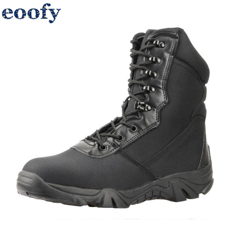 Black Combat Boots Mens Army Tactical Shoes Hiking Military Footwear Riding Boots With Zipper Breathable