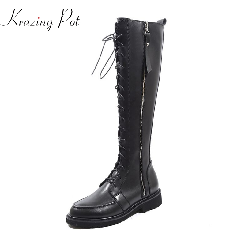 Krazing Pot genuine leather round toe streetwear med heels bigger size oxfords Princess Chelsea motorcycle mid-calf boots L8f1 krazing pot cow leather low heels gladiator round toe hollywood european chelsea boots plus size streetwear nude boots l83