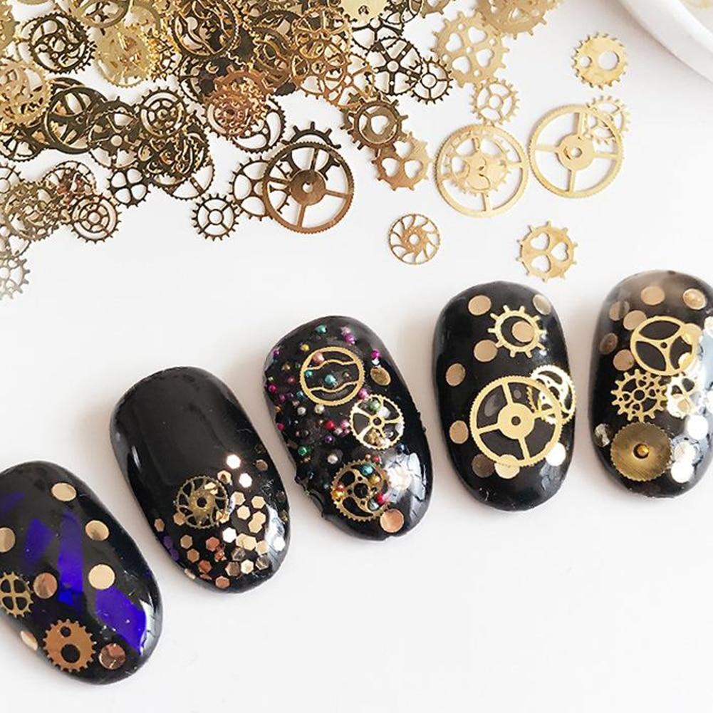 1 Box Mixed Color 3D Nail Art Decoration in Wheel Colorful Nail Studs Round DIY Manicure Nail Art Accessories Nail Tools 1 x nail art decoration wheel 3d nail metal studs mixed shape gold wheel manicure decor diy nails rhinestones