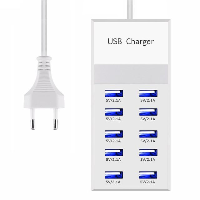 Powstro 10 USB stacja ładująca Splitter 60 W telefon komórkowy ładowarka HUB inteligentny układ scalony ładowania uniwersalny dla iPhone Samsung Mp3 Tablet itp