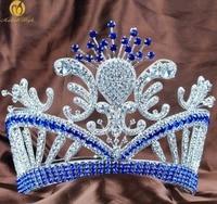 Floral Flower Blue Large Tiara Crown Austrian Rhinestone Crystal Hair Headpiece Wedding Bridal Miss Pageant Party