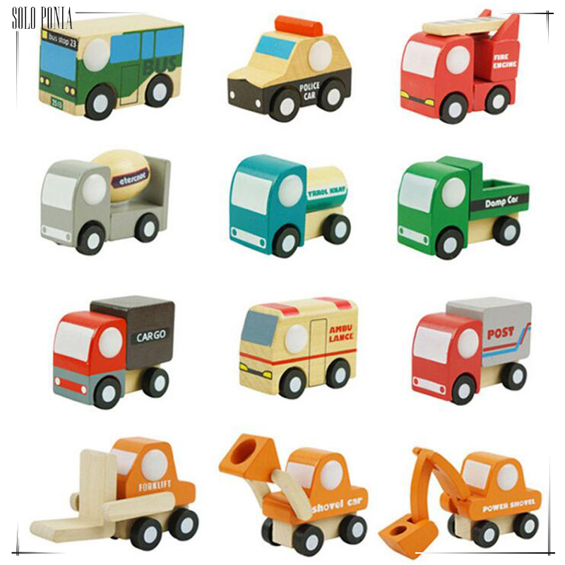 12 piece wooden car set cute wood baby toy gift box and cartoon packing toy wooden Traffic toys set 12 pcs wood plane set 55568 cartoon wood
