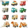 12 unidades de madera set de vagones de madera lindo juguete del bebé caja de regalo y embalaje de dibujos animados juguete de madera juguetes De Tráfico set 12 unids madera plano conjunto 55568