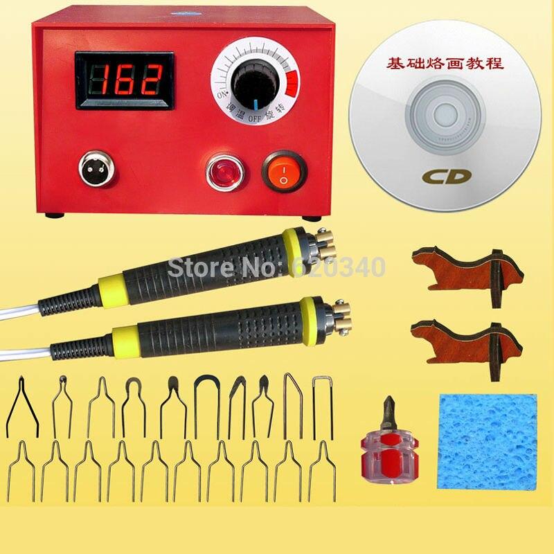 Température affichage numérique multifonction pyrogravure machine costume 2 pièces pyrogravure stylo + 20 pièces lame pour gourde, planche, cuir, écorce