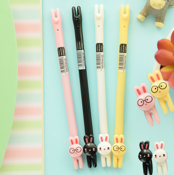 Cute Lying Glasses Rabbit Gel Ink Pen Promotional Gift Stationery School & Office Supply Escolar Papelaria 1pc lot cute rabbit design memo pad office accessories memos sticky notes school stationery post it supplies tt 2766