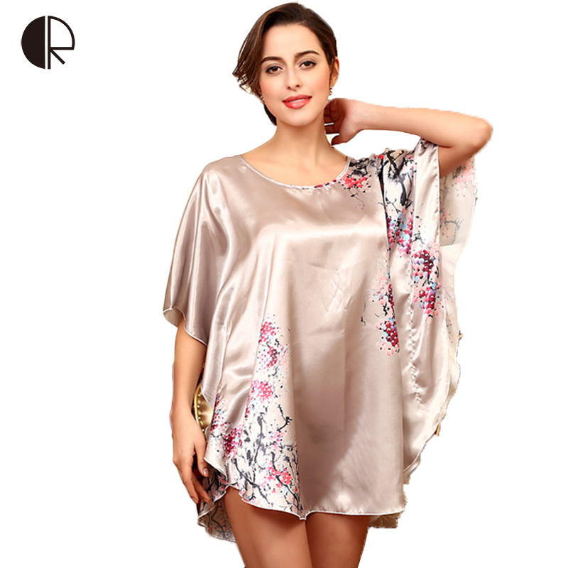 6 Color 2016 NewWomen Fashion Sexy Silk Loose Nightgown Print Butterfly Plus Big Size Nighskirt Sleepwear Free Shipping AP311
