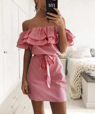 여성 드레스 스트라이프 플러스 사이즈 여름 드레스 프릴 칼라 2019 붕대 Sundress 캐쥬얼 섹시한 Bodycon Vestido De Festa ONY0304