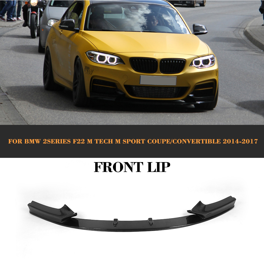 2 Series Carbon Fiber Car Bumper Front Lip Diffuser For BMW F22 M Sport Coupe Only 14-17 Convertible 220i 230i 235i 228i P style 2 series carbon fiber car front bumper lip spoiler for bmw f22 m sport coupe only 14 17 convertible 220i 230i 235i 228i p style