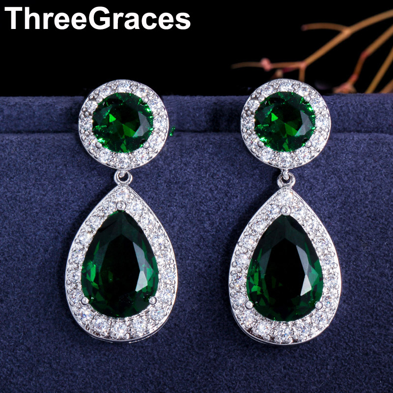 ThreeGraces Fashion Silver Color Green Cubic Zirconia Stone Round and Big Water Drop Dangle Long Earrings for Women ER017