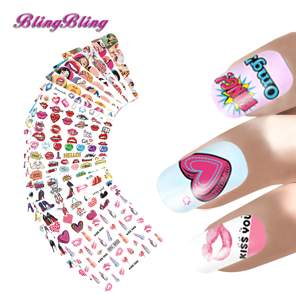 24 Sheets Nails Water Decals Sexy Nail Stickers Lip Heart Design Colorful Diamond Nail Art Decoration Accessories  New Summer