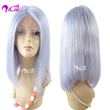 Aliexpress 16 Inch Cheap Short Bob wigs Ice Blue Sliky Straight Human Hair Lace Front Wigs Glueless Lace Front Wigs