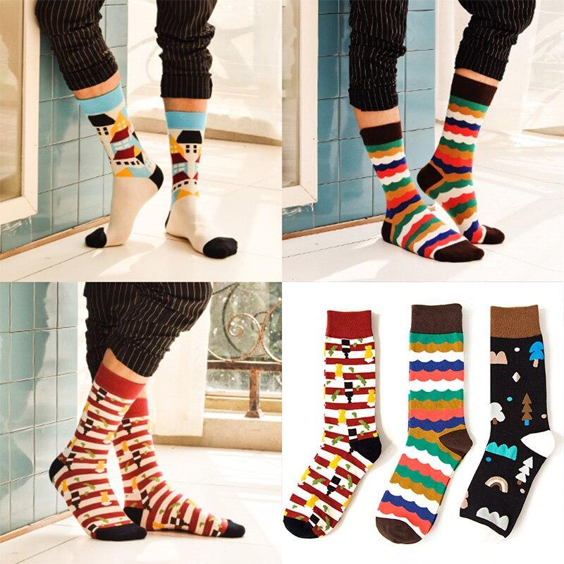 Niedrigerer Preis Mit Mode 1 Para Von Frühling Sommer Winter Männer Farbige Gestreiften Baumwolle Socken Kunst Jacquard Socken Hit Farbe Lange Dot Socken Exquisite (In) Verarbeitung