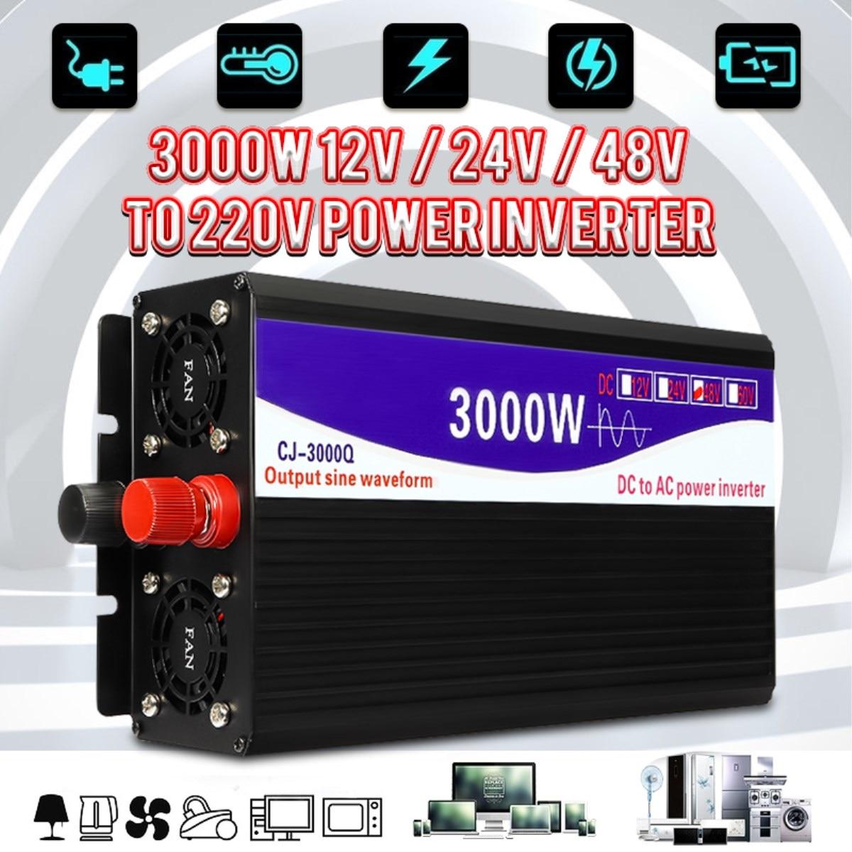 Onduleur 12 V/24 V/48 V à 220V 3000W pur convertisseur de tension d'inverseur d'onde sinusoïdale pour la maison de voiture