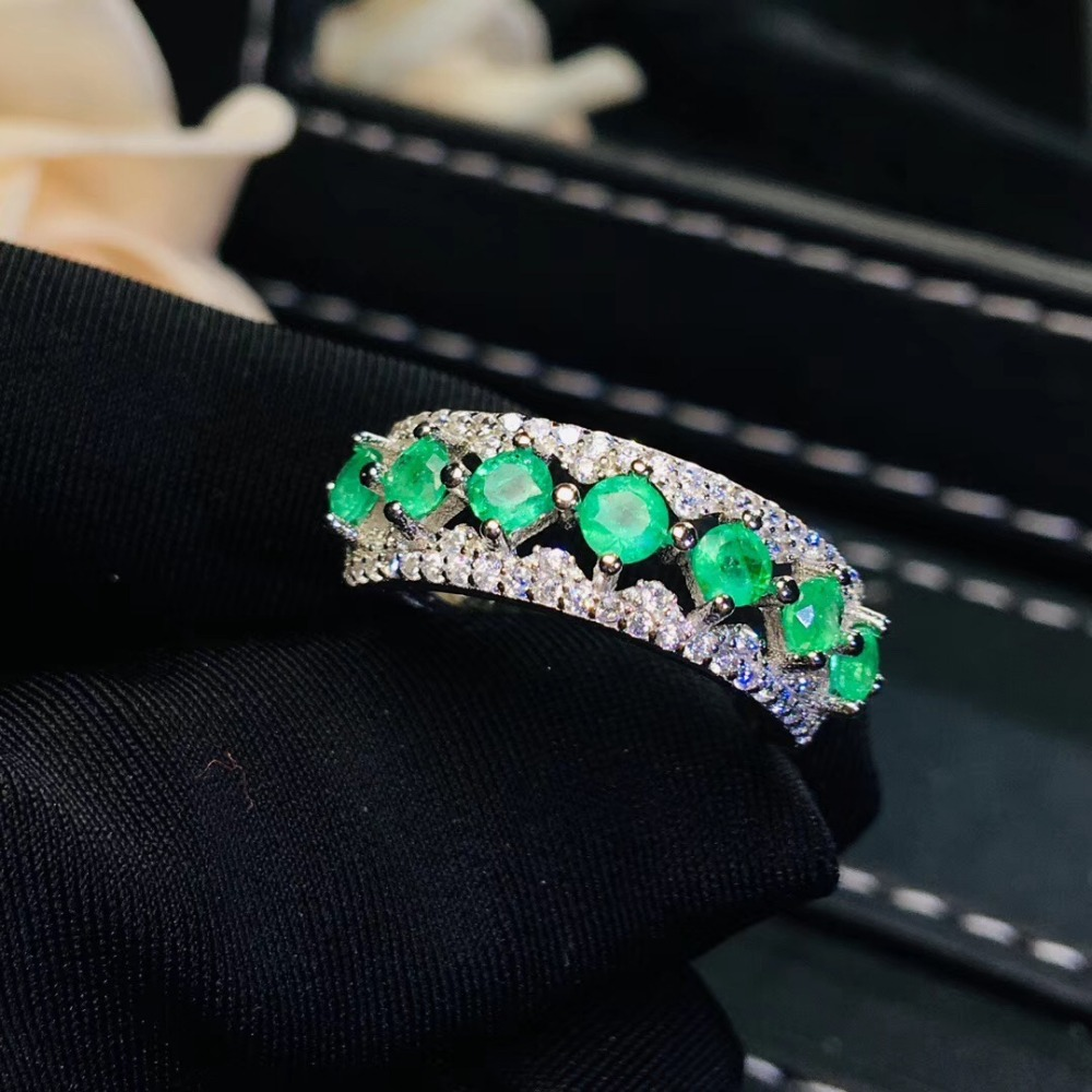 Natural emerald ring, shop promotion specials, natural gemstone from the mining area, 925 silver