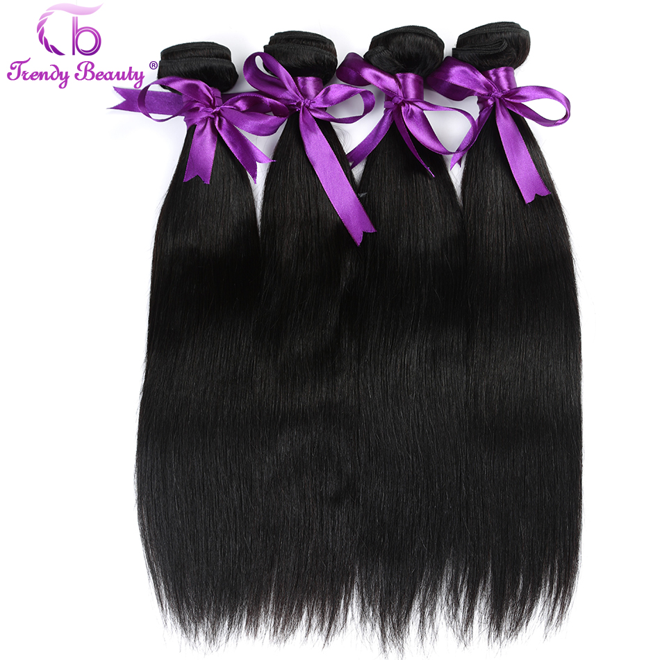 4 bundles hair in total Brazilian straight hair 100% human hair weave bundles 4 pcs per lot natural black color Trendy beauty ...