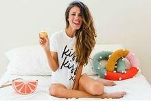 NiceMix 2017 New Summer T-shirt Print Letter KISS T Shirt Women Casual Cotton TShirt Loose Harajuku Tee Femme 65010