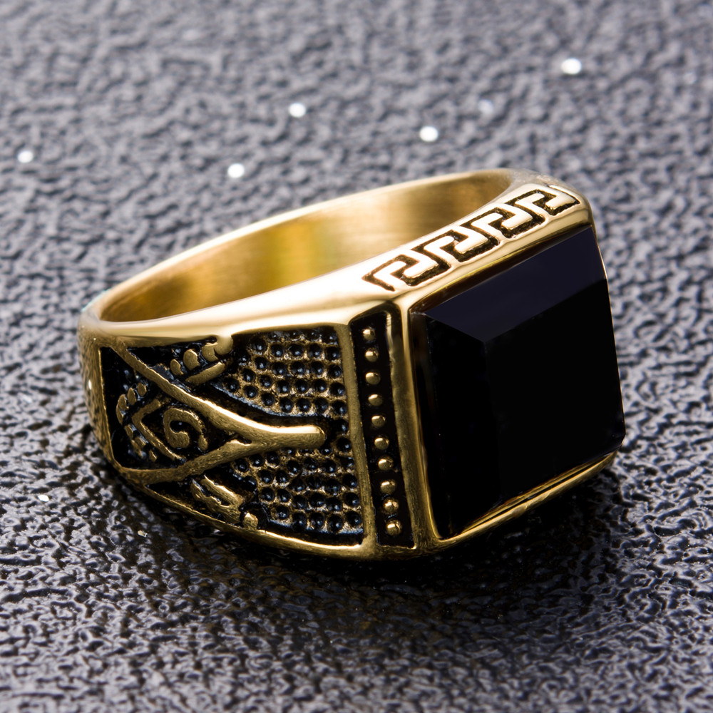 eejart 316L stainless steel Fashion ring freemason ring for men trandy gold plating Masonic jewelry