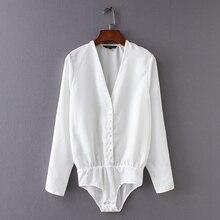 Women elegant v neck single breasted black white color bodysuits shirt casual si