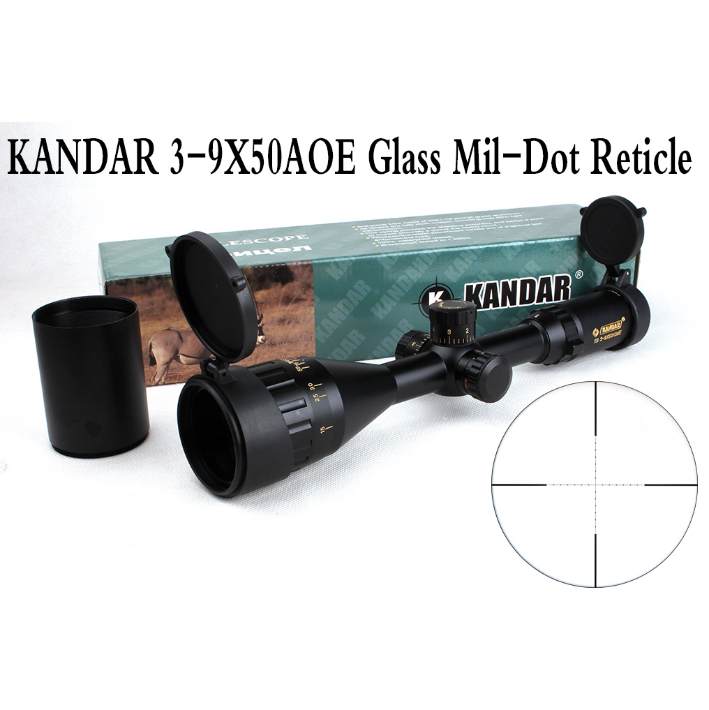 Tactical Optical Sight Gold Edition KANDAR 3-9x50 AOME Glass Mil-dot Reticle Locking RifleScope Hunting Rifle Scope