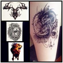 3D Black Lion Henna Temporary Tattoo Women Body ARt ARm Legs Sleeve Tattoo Stickers 21x15CM Deer Elk Waterproof Tatoo Men
