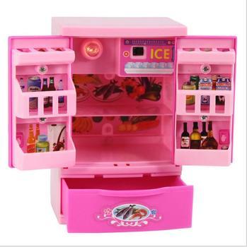 موضة اكسسوارات صغيرة الثلاجة ل دمية باربي حلم البيت الأثاث المطبخ الثلاجة اللعب مجموعة 1/6 Bjd إكسسوارات دمي