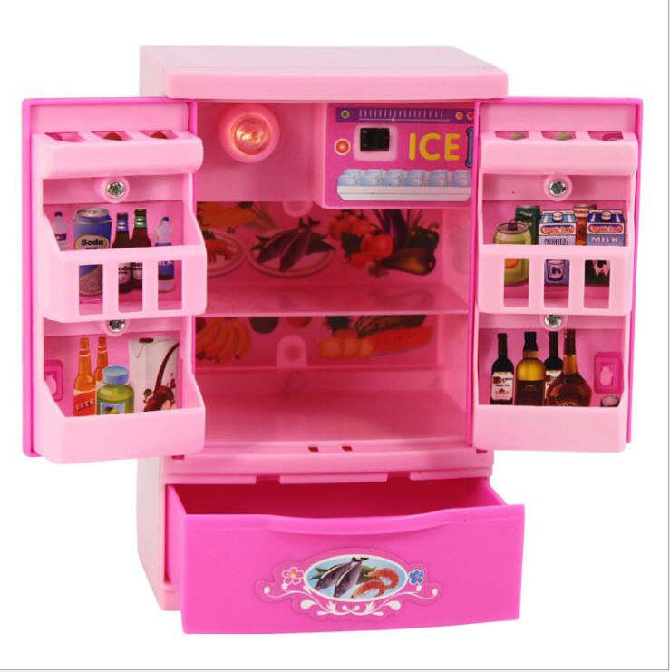 Fashion Mini Accessories Fridge For Barbie Doll Dream House Furniture Kitchen Refrigerator Play Set 1/6 Bjd Doll Accessories