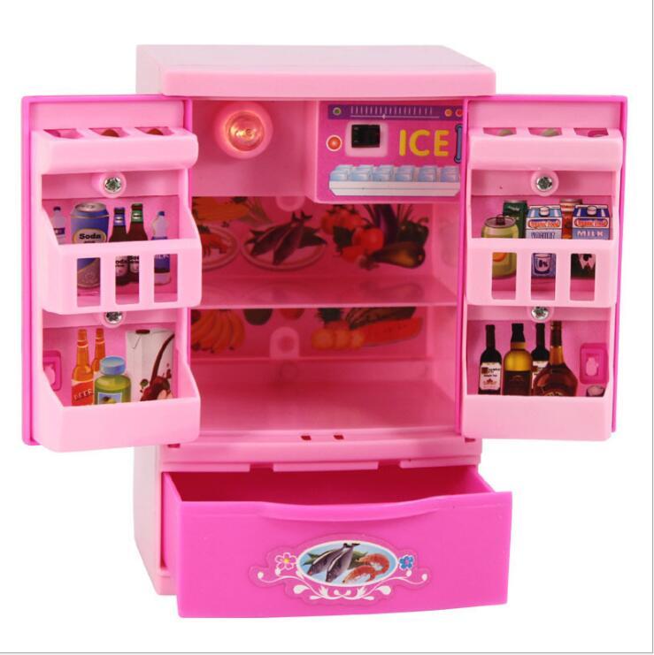 Fashion Mini Accessories Fridge For Barbie Doll Dream House Furniture Kitchen Refrigerator Play Set 1/6 Bjd Doll Accessories