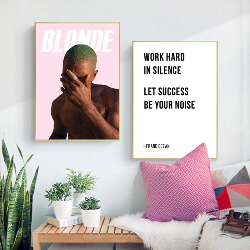 Frank Ocean Blonde Poster Wall Art Canvas Prints , Work Hard In Silence Hip Hop Lyrics Quotes Painting Home Wall Art Decor