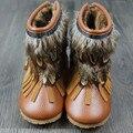Натуральная Кожа Детские Мокасины с Мехом baby shoes Детские сапоги Для Зимы Кисточкой Перо Девушки сапоги Бесплатная доставка
